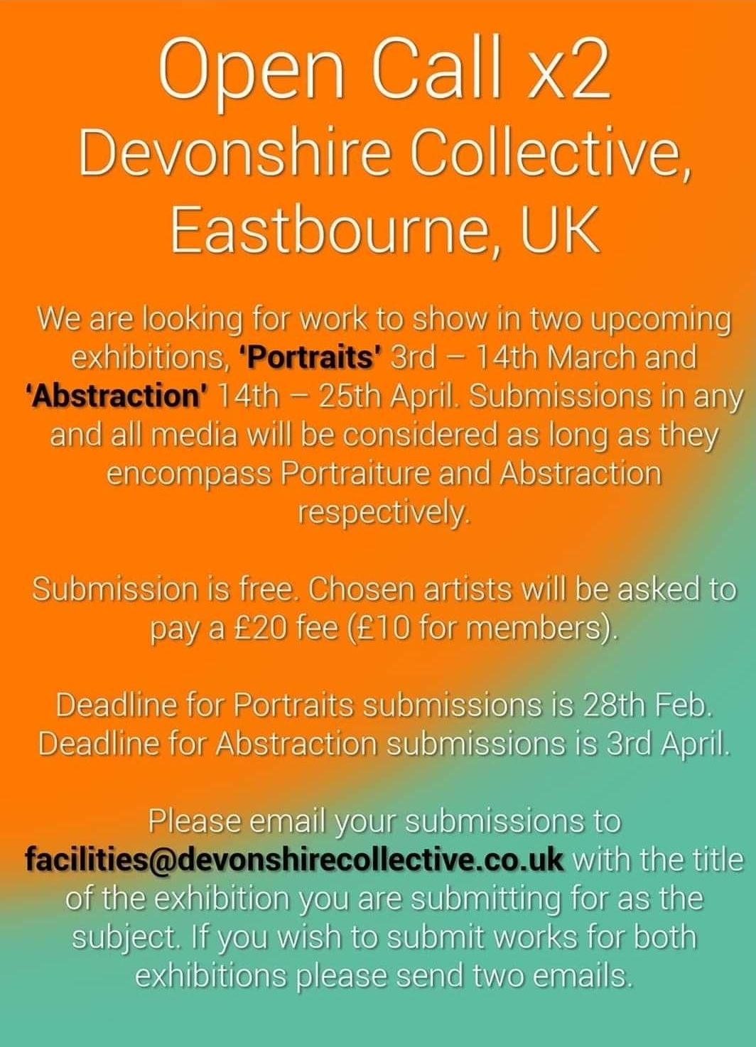 Two Open Calls @ Devonshire Collective!